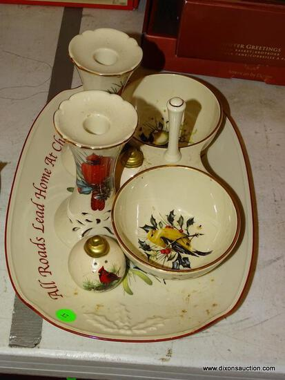 (LR) MISCELL. LENOX CHRISTMAS ITEMS; 4 MISCELL. LENOX CHRISTMAS PORCELAIN ITEMS- PR OF CANDLE