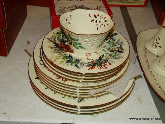 (LR) MISCELL. LENOX LOT; LOT OF CHRISTMAS AMERICAN BY DESIGN WINTER GREETINGS CHINA- 4 WINTER