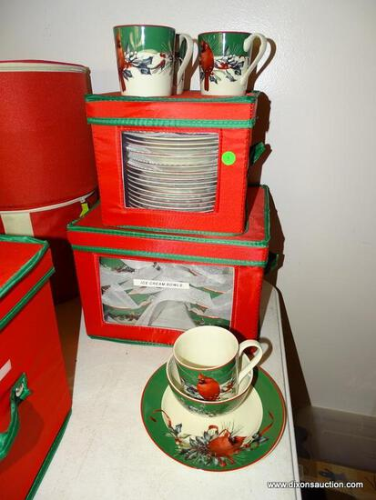 (LR) DESSERT SET; LENOX CHRISTMAS WINTER GREETINGS DESSERT SET- 4 MUGS, 16 DESSERT PLATES AND 16 ICE