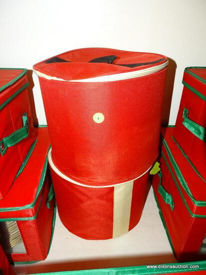 (LR) CANDLE LOT; 2 CLOTH CASES CONTAINING PEDESTAL CANDLES- 1 CASE CONTAINS 8 BATTERY OPERATED