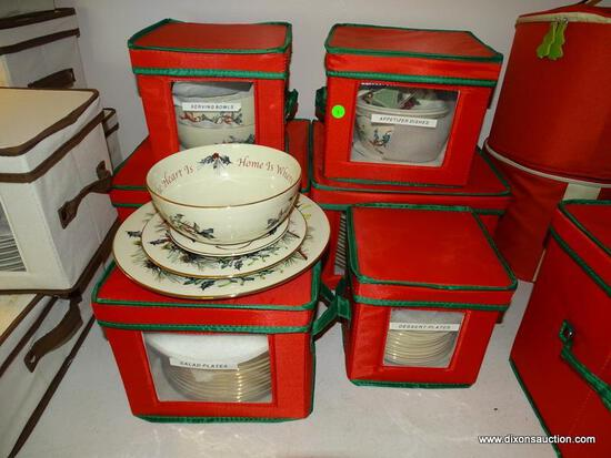 (LR) LENOX CHINA; LOT OF LENOX CHRISTMAS CHINA IN THE AMERICAN HOME COLLECTION- WINTER GREETINGS- 14