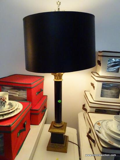 (LR) LAMP; BRASS AND METAL COLUMN LAMP WITH PAPER SHADE-36 IN H