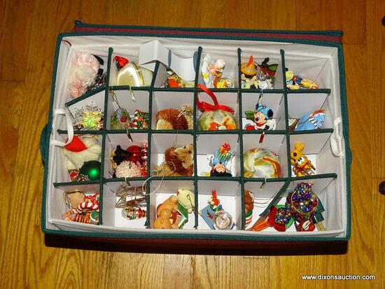 (LR) BOX LOT OF ORNAMENTS; CLOTH CASE CONTAINING 3 TRAYS OF DISNEY AND WARNER BROTHERS HALLMARK