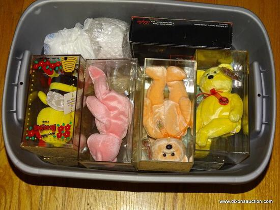 (LR) TUB LOT OF TY BEARS; TUB LOT OF 12 TY BEARS IN PLASTIC CASES AND A COUPLE OF MISCELL. CERAMIC