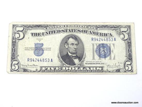 1934D FIVE DOLLAR SILVER CERTIFICATE