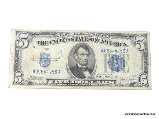 1934C FIVE DOLLAR SILVER CERTIFICATE