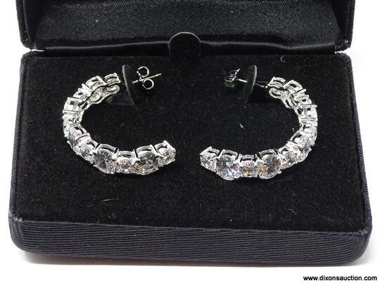 """PAIR OF .925 STERLING SILVER & LARGE CZ """"C"""" PIERCED EARRINGS. REAL COLLECTIBLES BY ADRIENNE. COMES"""