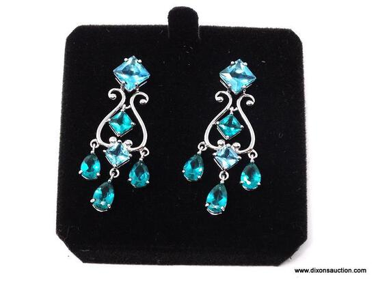 PAIR OF PLATINUM OVER .925 STERLING SILVER PIERCED EARRINGS WITH BLUE CZ GEMSTONES. COMES IN BOX.