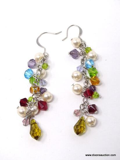 PAIR OF .925 STERLING SILVER DANGLE EARRINGS WITH MULTI-COLORED BEADS & FAUX PEARLS. COMES IN BOX.