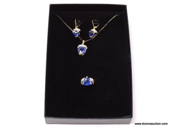 18KT GOLD OVER .925 STERLING SILVER & SIMULATED TANZANITE/DIAMOND TECHNIBOND 3 PC. SET TO INCLUDE: