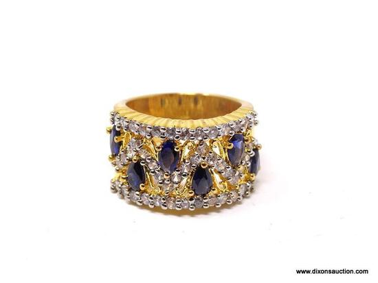 18KT YELLOW GOLD OVER .925 STERLING SILVER RING WITH SIMULATED SAPPHIRES & CLEAR CZ STONES. COMES IN