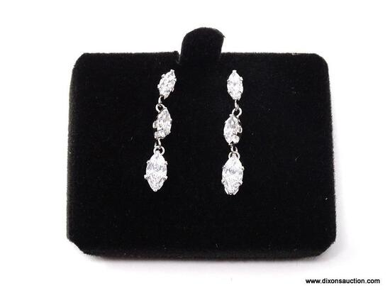 PAIR OF 14K WHITE GOLD & CZ DANGLE PIERCED EARRINGS. COMES IN BOX.
