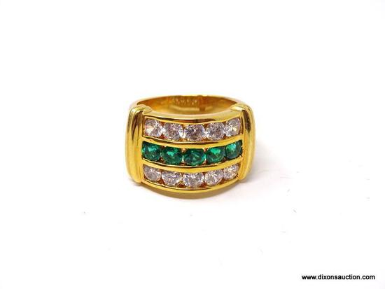 TECHNIBOND 18KT YELLOW GOLD OVER .925 STERLING SILVER RING WITH ROUND SYNTHETIC EMERALDS & CZ