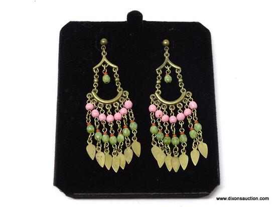 BEN-AMUN BRONZE DESIGNER PINK, GREEN & RED BEADED DROP EARRINGS. COMES WITH BOX.