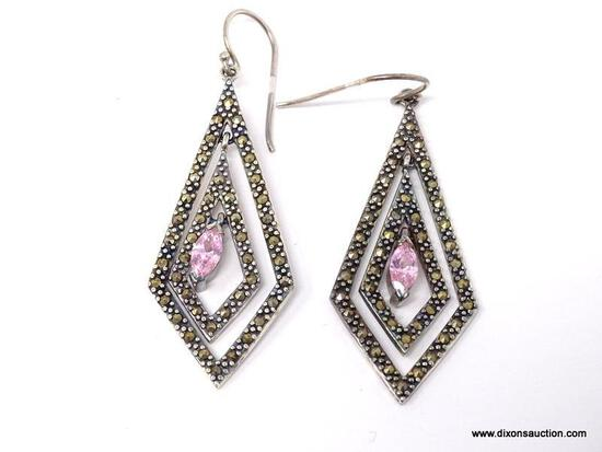 PAIR OF .925 STERLING SILVER, MARCASITE & PINK TOPAZ PIERCED EARRINGS. COMES IN BOX.