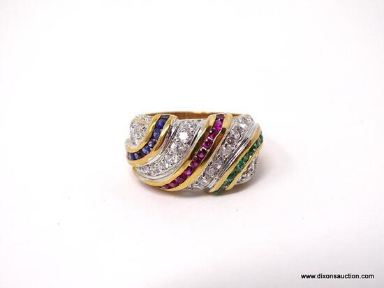 TECHNIBOND 18KT YELLOW GOLD OVER .925 STERLING SILVER RING WITH BEAUTIFUL MULTI-COLORED CZ STONES.