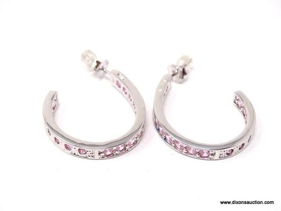 .925 STERLING SILVER PIERCED EARRINGS WITH PINK CZ GEMSTONES. COMES WITH BOX.
