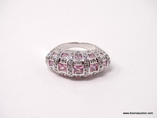 VICTORIA WIECK .925 STERLING SILVER PINK & CLEAR CZ RING. COMES WITH BOX. RING SIZE IS BETWEEN 7 &