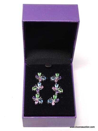 PAIR OF .925 STERLING SILVER BUTTERFLY DROP PIERCED EARRINGS WITH MULTI-COLORED CZ STONES. PART OF