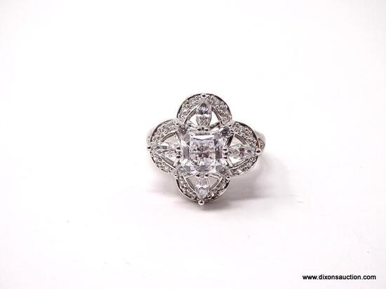 VICTORIA WIECK .925 STERLING SILVER RING WITH VARIOUS CUT CZ GEMSTONES. COMES WITH BOX. RING SIZE IS