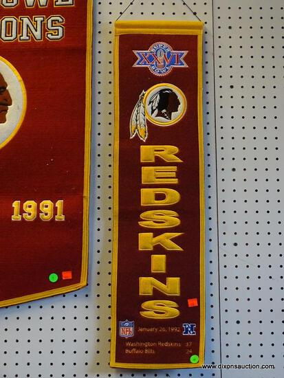 REDSKINS SUPERBOWL CHAMPIONS PROMOTIONAL BANNER; FOR THE YEAR 1992 (SUPER BOWL XXVI). IS IN