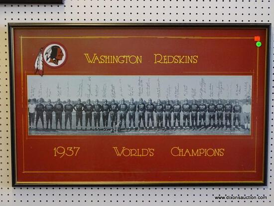 WASHINGTON REDSKINS 1937 WORLD'S CHAMPIONS PHOTOGRAPH PRINT; DISPLAYS THE WHOLE OF THE REDSKINS TEAM