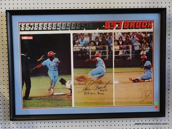 "SIGNED LOU BROCK PROMOTIONAL POSTER; ""LOU BROCK #20 (938 STOLEN BASES)"". IS IN A BLACK FRAME WITH"