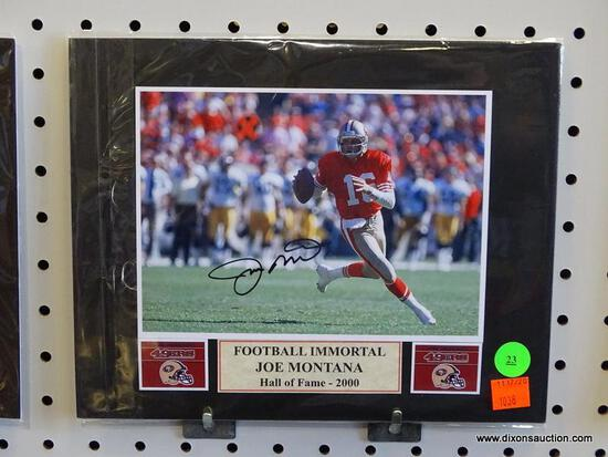 SIGNED 49ERS PHOTOGRAPH; IS OF AND SIGNED BY JOE MONTANA (NFL HALL OF FAMER - 2000). HAS A COA ON