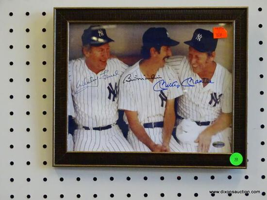 SIGNED NEW YORK YANKEES PHOTOGRAPH; SHOWS WHITEY FORD, BILLY MARTIN, AND MICKEY MANTLE SITTING