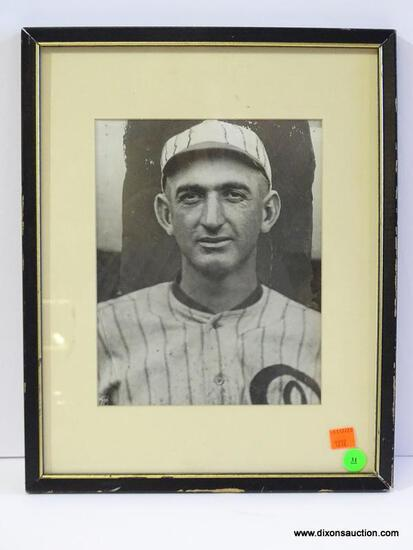 """BLACK AND WHITE PROMOTIONAL PHOTO; IS OF JOSEPH """"SHOELESS JOE"""" JACKSON. IS IN A BLACK FRAME WITH"""