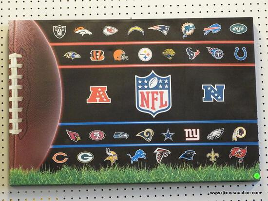 NFL OIL ON CANVAS; HAS EACH TEAMS LOGO MADE INTO THE IMAGE AND THE NFL LOGO IN THE CENTER. MEASURES