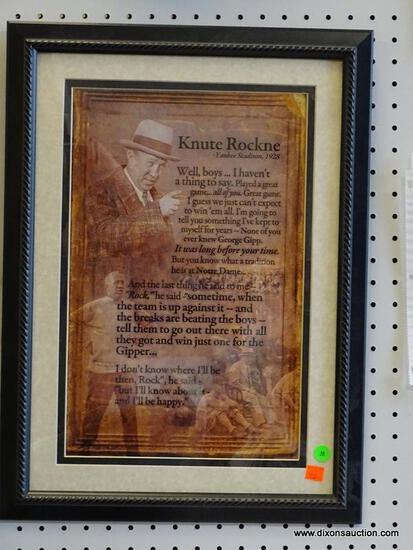 """KNUTE ROCKNE FRAMED QUOTE; FRAMED QUOTE FROM KNUTE ROCKNE IN THE YANKEE STADIUM (1928) """"WELL,"""
