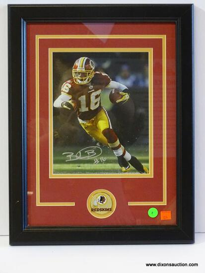 SIGNED REDSKINS PHOTOGRAPH; PHOTO IS OF AND IS SIGNED BY BRANDON BANKS. IS AN 8 IN X 10 IN
