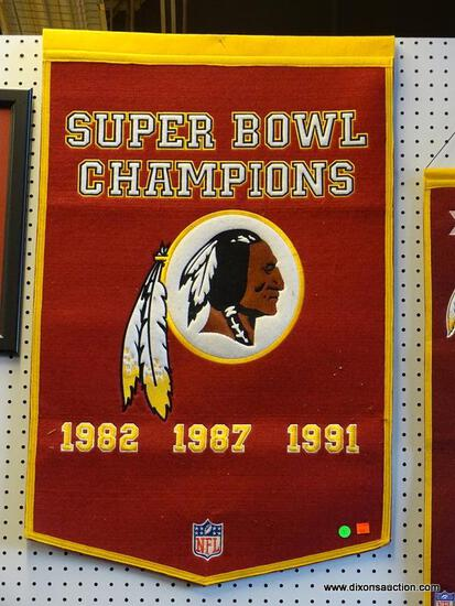 REDSKINS SUPERBOWL CHAMPIONS PROMOTIONAL BANNER; FOR THE YEARS 1982, 1987, AND 1991. IS IN EXCELLENT