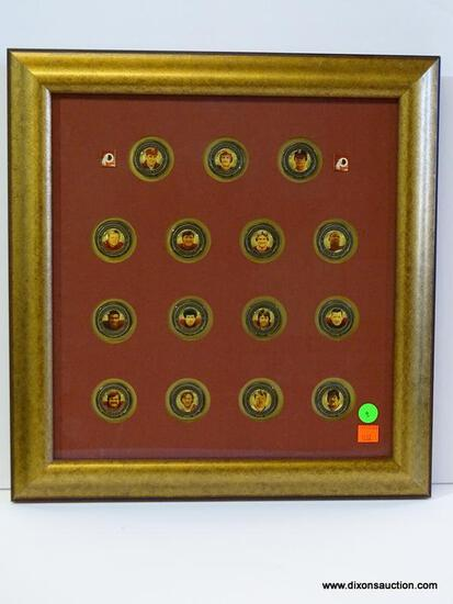 REDSKINS COIN SET; 75TH ANNIVERSARY COIN SET IN GOLD TONE FRAME WITH HEAVY MUSEUM QUALITY GLASS. IS