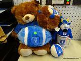 DUKE LOT; INCLUDES A TEDDY BEAR, A PLUSH FOOTBALL, A BLUE DEVIL PLUSH, A COFFEE MUG, ETC.