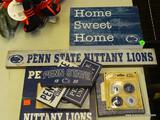 PENN STATE LOT; INCLUDES SEVERAL WOODEN PENN STATE ADVERTISING SIGNS, A 6 IN X 4 IN PHOTO FRAME, AND