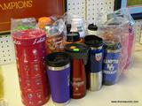 ASSORTED DRINKING BOTTLE LOT; INCLUDES ASSORTED COLLEGE SPORTS THEMED DRINKING BOTTLES WITH COLLEGES
