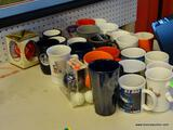 ASSORTED COFFEE MUG LOT; INCLUDES ASSORTED COLLEGE SPORTS THEMED COFFEE MUGS WITH COLLEGES SUCH AS