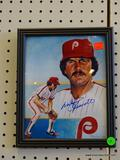 SIGNED PHILLIES PHOTOGRAPH; SIGNED BY MIKE SCHMIDT. HAS COA ON THE BACK FROM SIGNED CERTIFIED