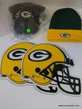 GREEN BAY LOT; INCLUDES 2 GREEN BAY HELMET MAGNETS, A GREEN BAY BALL CAP AND A GREEN BAY BEANIE.