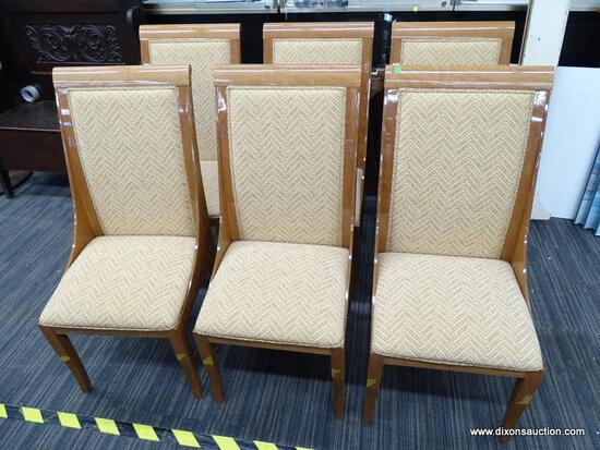 COSTANTINI PIETRO ART DECO STYLE DINING CHAIRS; MADE IN ITALY. TOTAL OF 6 CHAIRS WITH TAN
