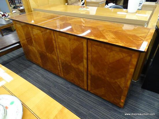 OSCAR DEL ARREDAMENTO MINIFORMS ART DECO STYLE BUFFET; MADE IN ITALY. HAS AN INLAY BANDED TOP AND 4