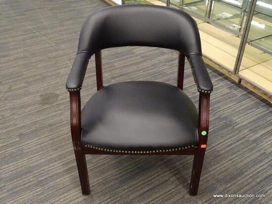 OFFICE ARM CHAIR; BLACK LEATHER, MAHOGANY, AND BRASS STUDDED OFFICE ARM CHAIR IN EXCELLENT