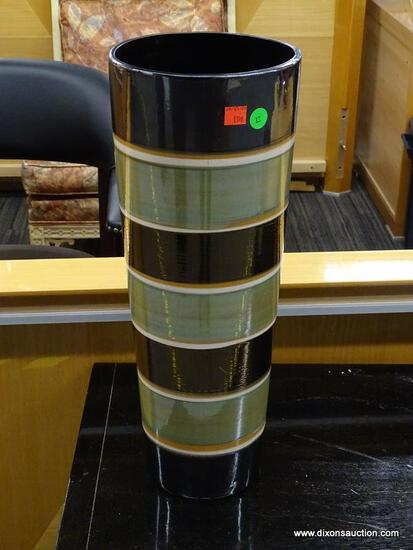 VASE; GREEN AND BLACK STRIPED VASE. IS IN EXCELLENT CONDITION AND MEASURES 7 IN X 19 IN
