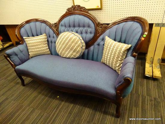 NEWLY REUPHOLSTERED VICTORIAN MEDALLION BACK SOFA; HAS A DOUBLE TONED UPHOLSTERY THAT CHANGES FROM