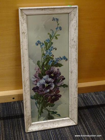 FRAMED FLORAL PRINT; IS IN A DISTRESSED WHITE FINISH FRAME WITH PURPLE AND BLUE FLOWERS. IS IN GOOD