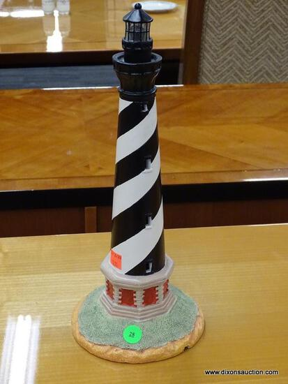 """LIGHTHOUSE FIGURINE; """"CAPE HATTERAS"""" FIGURINE IN VERY GOOD CONDITION. MEASURES 14 IN TALL"""