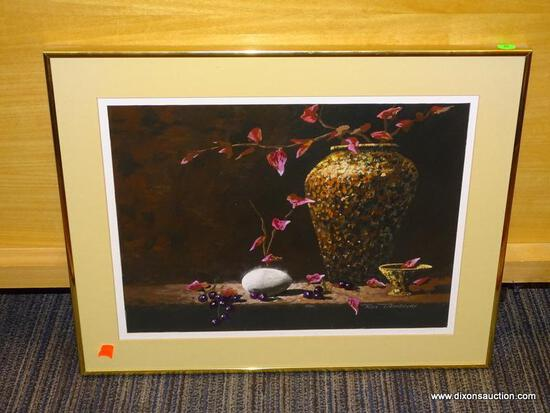 FRAMED FLORAL STILL LIFE; SHOWS A SPECKLE PAINTED VASE WITH PINK FLOWERS AND A BOWL BESIDE THE VASE.