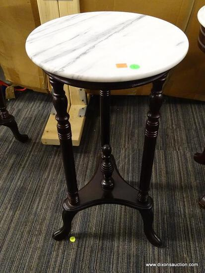 VICTORIAN MARBLE TOP PLANT STAND; HAS A WHITE MARBLE TOP AND MAHOGANY BONES WITH A LOWER CENTER